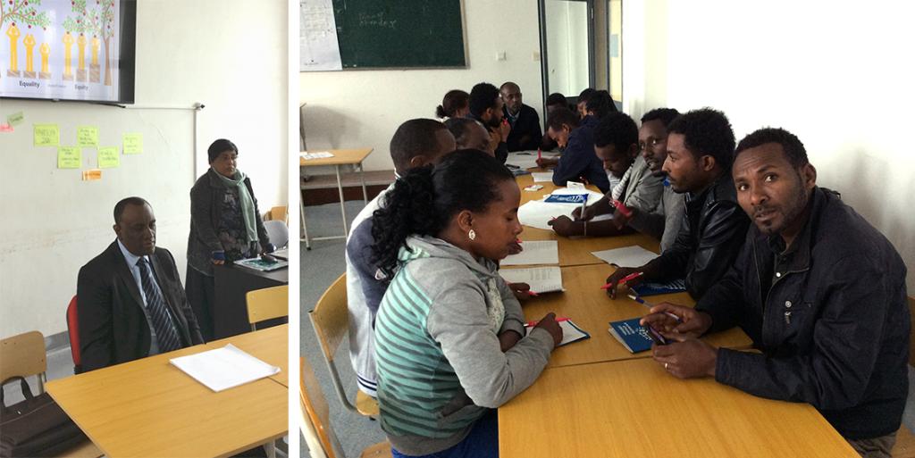 Koulutuksen osallistujia ja Dr. Abebe kouluttamassa.
