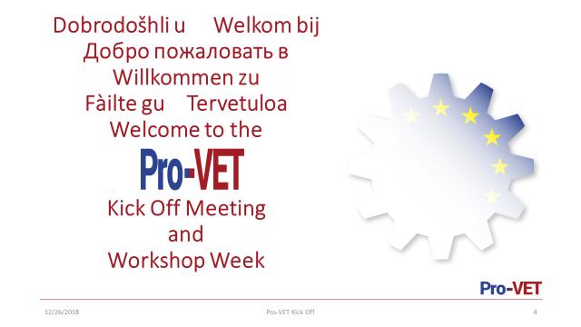 Pro-VET Kick Off Meeting ja työpajaviikko