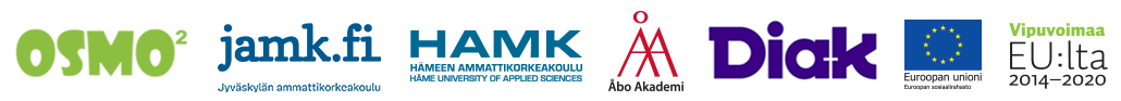 OSMO2-projektin toteuttajaorganisaatioiden ja rahoittajan logoja