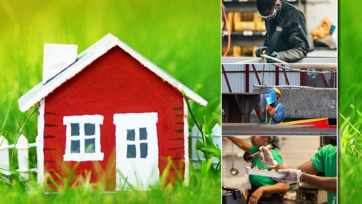 Kotopaikka-hankkeen kuvituskuva jossa eri alojen työntekijöitä, kuten keittiö-, rakennus- ja tehdastyöntekijä sekä Kotopaikan pieni punainen mökki