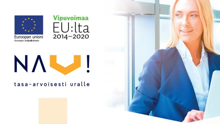 Naiset tasa-arvoisesti uralle -hankkeen kuvitusta, jossa nuori nainen seisoo kannettavan tietokoneen äärellä ja katsoo sivulle. Toisessa reunassa Euroopan sosiaalirahaston ja hankkeen logot.