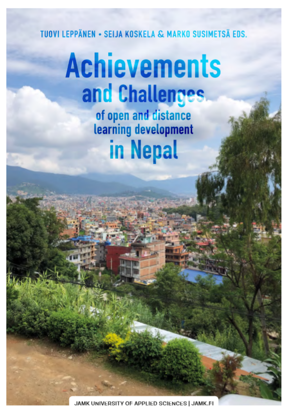publication's cover, Achievements an challenges of open and distance learning development in Nepal, view over a nepalese city and mountains