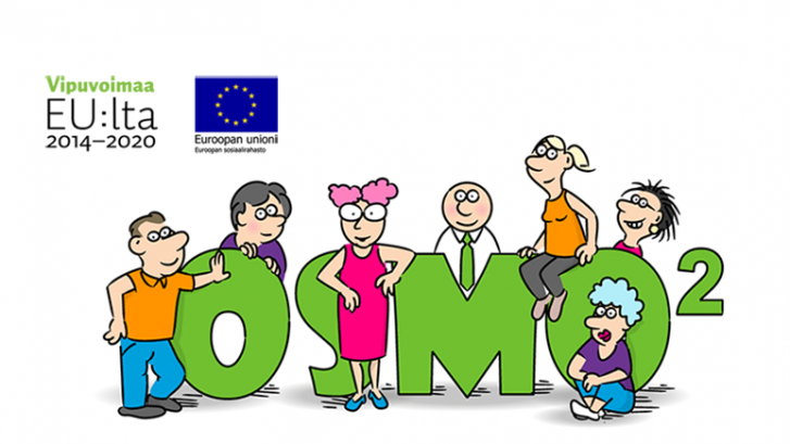 OSMO2-projektin nimi ja henkilöitä piirroshahmoina. Euroopan sosiaalirahaston logot.