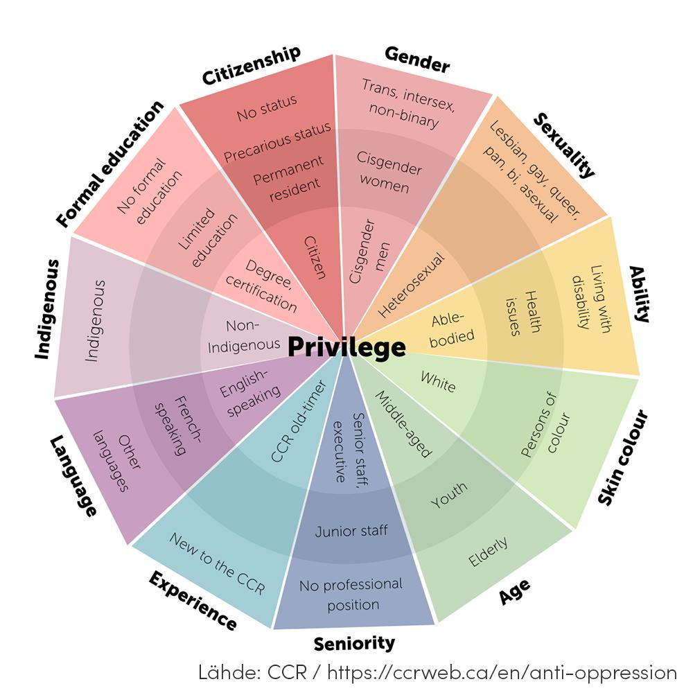 Etuoikeus -kehä -kuviossa on henkilöiden ominaisuuksia ja olosuhteita ympyrän eri sektoreissa. Esimerkiksi toimintakyky-sektorissa sisimmällä kehällä lähimpänä keskiosan Privilege-tekstiä on ominaisuus toimintakykyinen tai vammaton, siitä kauempana toimintarajoitetta sekä aivan kehän ulkokehällä henkilöllä on merkittävä toimintarajoite. Muita sektoreita muun muassa: sukupuoli, ihonväri, koulutus, seksuaalisuus, ikä, keho, asuminen ja kieli.