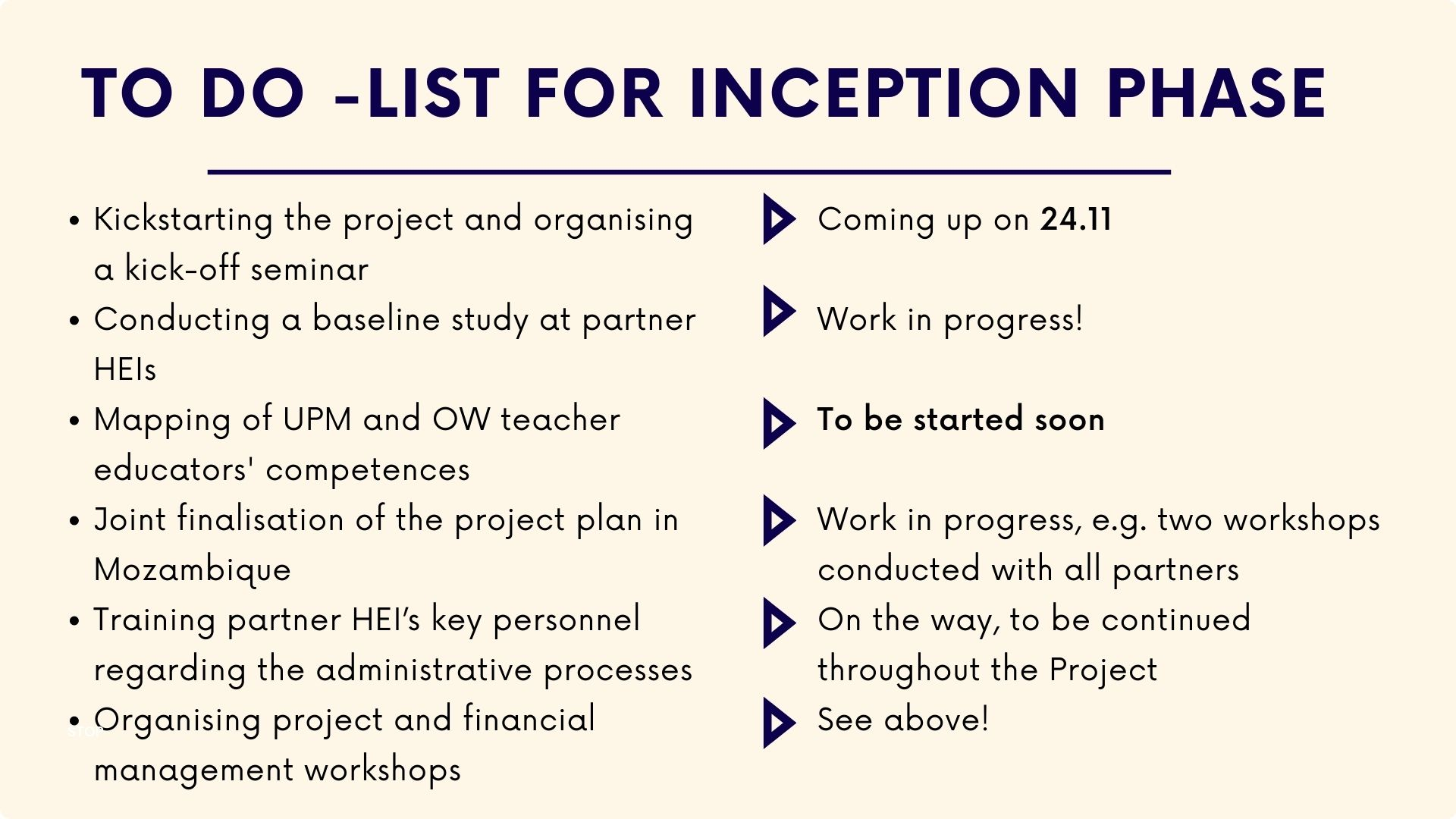 To do list for inception phase: 1) Kickstarting the project and organising a kick-off seminar on 24 November 2) Conducting a baseline study at partner HEIs. Work in progress. 3) Mapping of UPM and OW teacher educators' competences. Will be started soon. 4) Joint finalisation of the project plan in Mozambique. Work in progress. 5) Training partner HEI's key personnel regarding the administrative processes. On-going, to be continued throughout the project. 6) Organising project and financial management workshops. On-going, to be continued throughout the project.