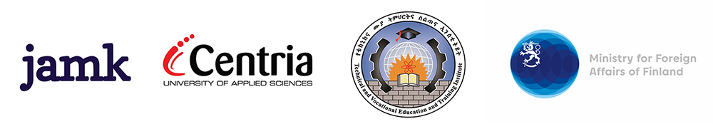 Logos JAMK University of applied sciences, Centria university of applied sciences, Technical and vocational education and training institute and Ministry of foreign affairs of finland.