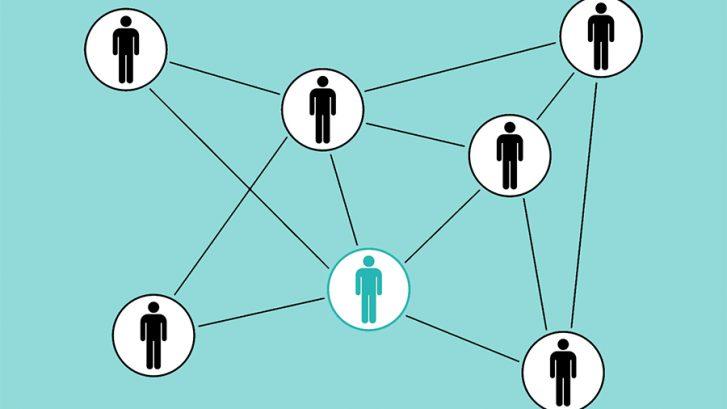 Piirroskuvassa ihmishahmoja yhdistettynä toisiinsa viivoilla verkostoksi.
