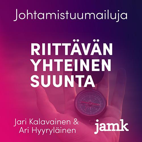 Riittävän yhteinen suunta, Jari Kalavainen ja Ari Hyyryläinen. Taustalla käsi, joka pitelee kompassia.
