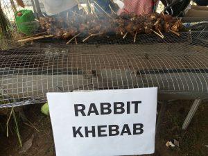 Syötävääkin näyttelyssä oli, mm. kanikebabia.