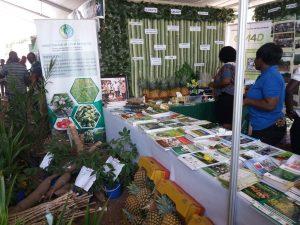 Ruoka- ja maatalousministeriön osastolla oli esillä erilaisia viljelykasveja ja tarjottiin tuotetta ananasmehua.