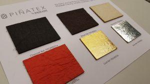 """Esimerkki biopohjaisesta materiaalista: ananaksenlehdistä valmistettua """"nahkaa""""."""