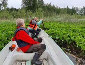 Maastokäynti Särkijärvelle tehtiin 9.6.2020, jolloin soudeltiin järvellä tutustumassa rehevöitymisen merkkeihin. Pääsikö tästä ennen veneellä?