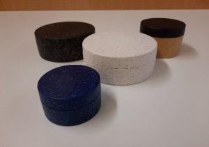 Biodegradable Sulapac plastic tins