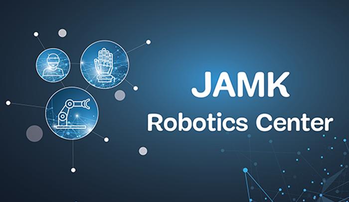 Sinisellä verkkotaustalla robotiikan symboleita