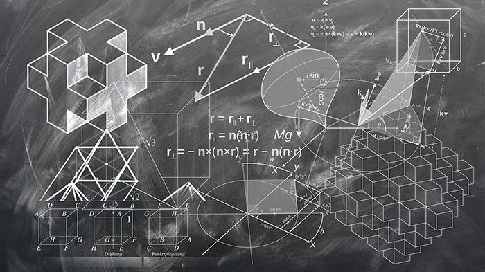 Liitutaululla matematiikan kaavoja