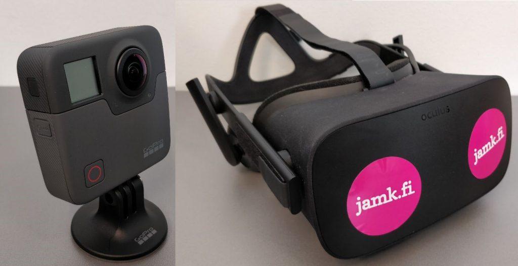 GoPro Fusion 360-kamera ja Oculus Rift virtuaalilasit.