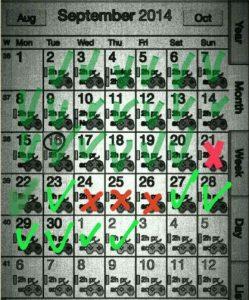 Merkitsin harjoittelupäivät säännöllisesti ylös kalenteriin